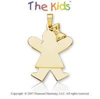 14k Yellow Gold Girl�s Ribbon of Joy 25mm Charm Pendant