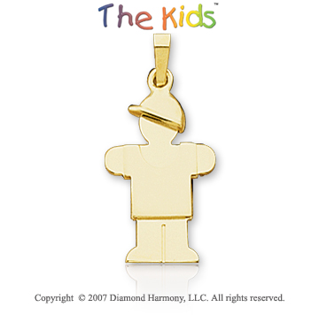 14k Yellow Gold Boy�s Happy Hugs 25mm Charm Pendant