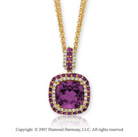 14k Yellow Gold Elegant 1/2 Carat Diamond Amethyst Pendant
