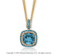 14k Yellow Gold Elegant 1/2 Carat Diamond Blue Topaz Pendant