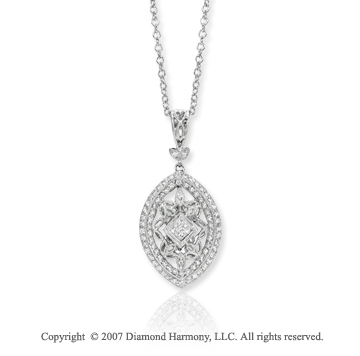 14k White Gold Elegant Ornate Oval Prong Diamond Pendant