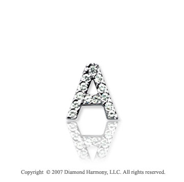 14k White Gold Prong Diamond Extra Small ^A^ Initial Pendant
