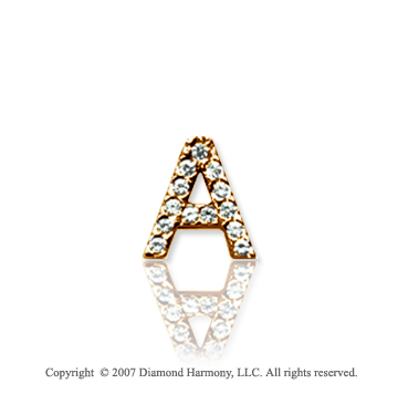 14k Yellow Gold Prong Diamond Extra Small ^A^ Initial Pendant
