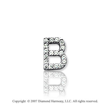 14k White Gold Prong Diamond Extra Small ^B^ Initial Pendant