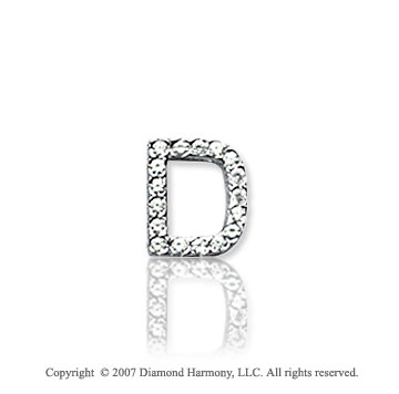 14k White Gold Prong Diamond Extra Small ^D^ Initial Pendant