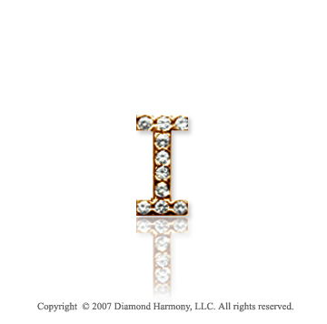 14k Yellow Gold Prong Diamond Extra Small ^I^ Initial Pendant
