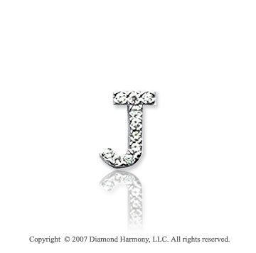 14k White Gold Prong Diamond Extra Small ^J^ Initial Pendant