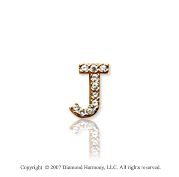 14k Yellow Gold Prong Diamond Extra Small ^J^ Initial Pendant