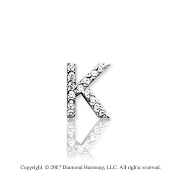 14k White Gold Prong Diamond Extra Small ^K^ Initial Pendant