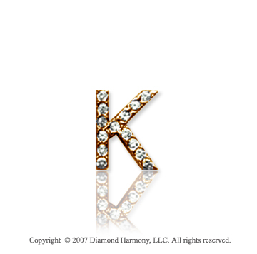 14k Yellow Gold Prong Diamond Extra Small ^K^ Initial Pendant