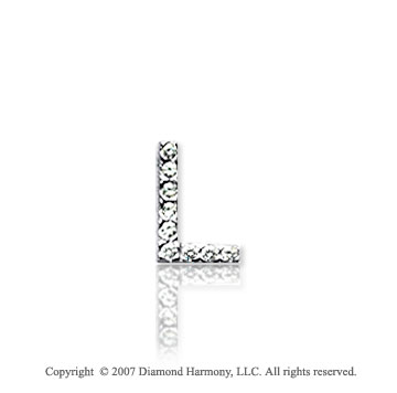 14k White Gold Prong Diamond Extra Small ^L^ Initial Pendant