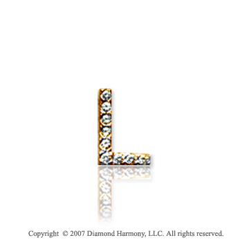14k Yellow Gold Prong Diamond Extra Small ^L^ Initial Pendant