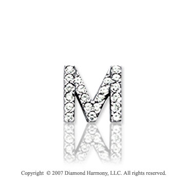 14k White Gold Prong Diamond Extra Small ^M^ Initial Pendant