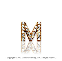 14k Yellow Gold Prong Diamond Extra Small ^M^ Initial Pendant