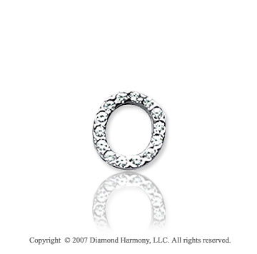 14k White Gold Prong Diamond Extra Small ^O^ Initial Pendant