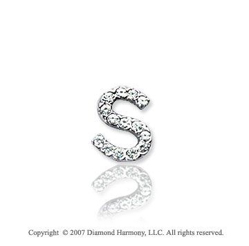14k White Gold Prong Diamond Extra Small ^S^ Initial Pendant
