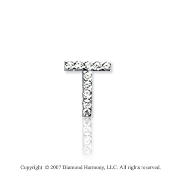 14k White Gold Prong Diamond Extra Small ^T^ Initial Pendant