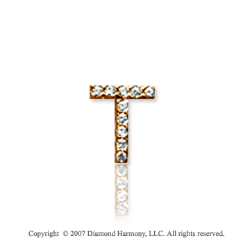 14k Yellow Gold Prong Diamond Extra Small ^T^ Initial Pendant