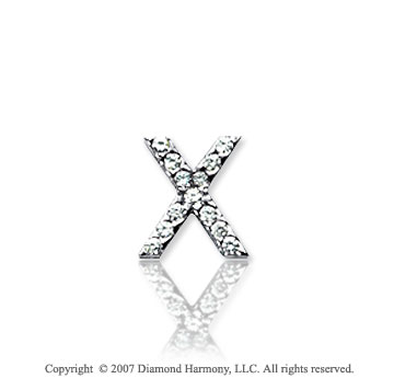 14k White Gold Prong Diamond Extra Small ^X^ Initial Pendant