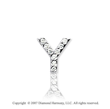 14k White Gold Prong Diamond Extra Small ^Y^ Initial Pendant