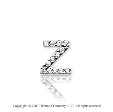 14k White Gold Prong Diamond Extra Small ^Z^ Initial Pendant
