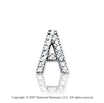 14k White Gold Prong Diamond Small ^A^ Initial Pendant