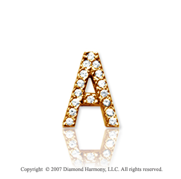 14k Yellow Gold Prong Diamond Small ^A^ Initial Pendant