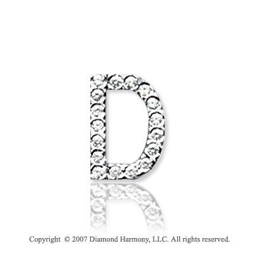14k White Gold Prong Diamond Small ^D^ Initial Pendant