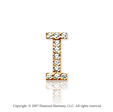 14k Yellow Gold Prong Diamond Small ^I^ Initial Pendant
