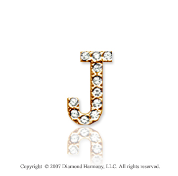 14k Yellow Gold Prong Diamond Small ^J^ Initial Pendant