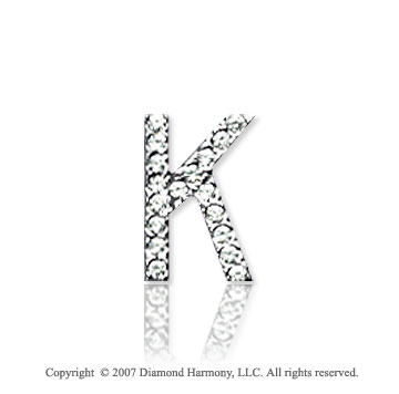 14k White Gold Prong Diamond Small ^K^ Initial Pendant