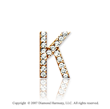 14k Yellow Gold Prong Diamond Small ^K^ Initial Pendant