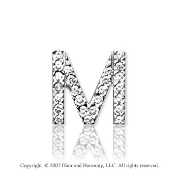 14k White Gold Prong Diamond Small ^M^ Initial Pendant