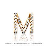 14k Yellow Gold Prong Diamond Small ^M^ Initial Pendant