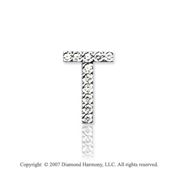 14k White Gold Prong Diamond Small ^T^ Initial Pendant