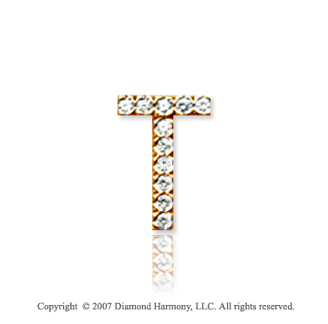 14k Yellow Gold Prong Diamond Small ^T^ Initial Pendant