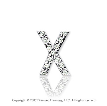 14k White Gold Prong Diamond Small ^X^ Initial Pendant