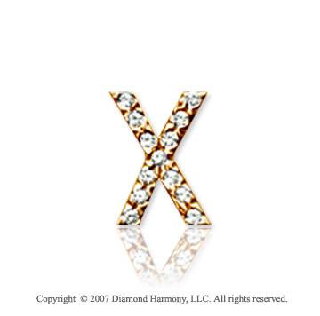 14k Yellow Gold Prong Diamond Small ^X^ Initial Pendant