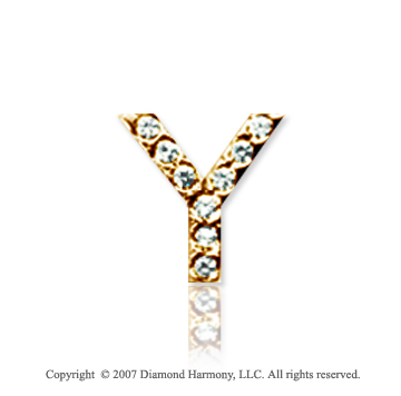 14k Yellow Gold Prong Diamond Small ^Y^ Initial Pendant