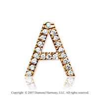 14k Yellow Gold Prong Diamond Medium ^A^ Initial Pendant