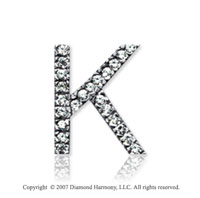14k White Gold Prong Diamond Medium ^K^ Initial Pendant