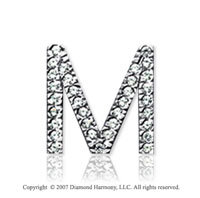 14k White Gold Prong Diamond Medium ^M^ Initial Pendant