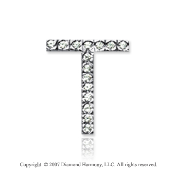 14k White Gold Prong Diamond Medium ^T^ Initial Pendant