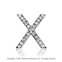14k White Gold Prong Diamond Medium ^X^ Initial Pendant