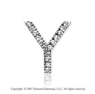 14k White Gold Prong Diamond Medium ^Y^ Initial Pendant