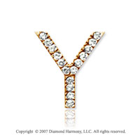 14k Yellow Gold Prong Diamond Medium ^Y^ Initial Pendant
