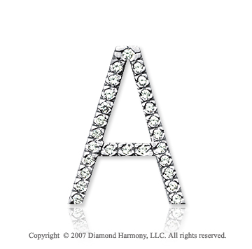 14k White Gold Prong Diamond Large ^A^ Initial Pendant