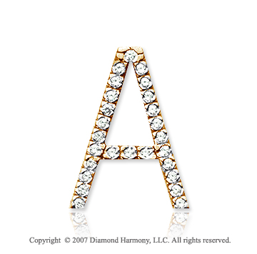14k Yellow Gold Prong Diamond Large ^A^ Initial Pendant