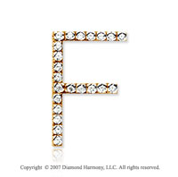 14k Yellow Gold Prong Diamond Large ^F^ Initial Pendant