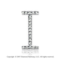 14k White Gold Prong Diamond Large ^I^ Initial Pendant